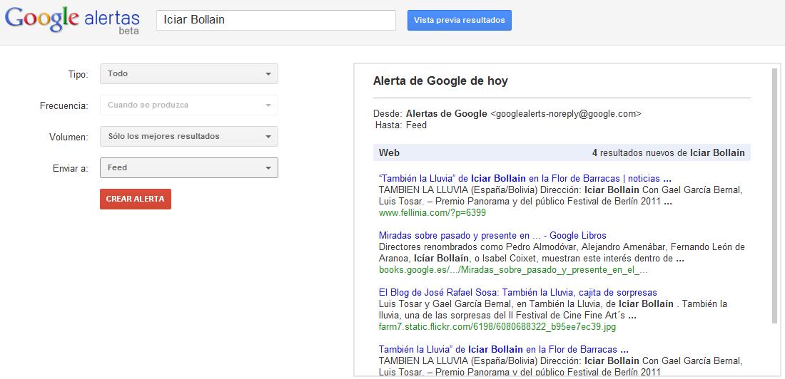resultados de Google Alerts