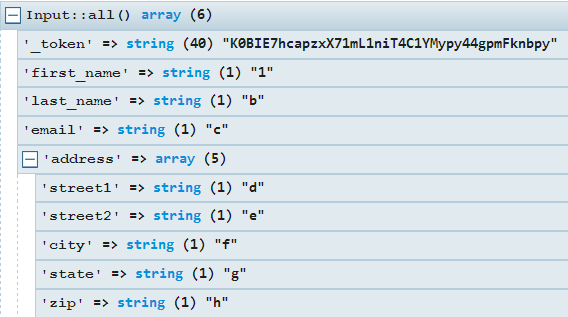 This is the Input::all() result