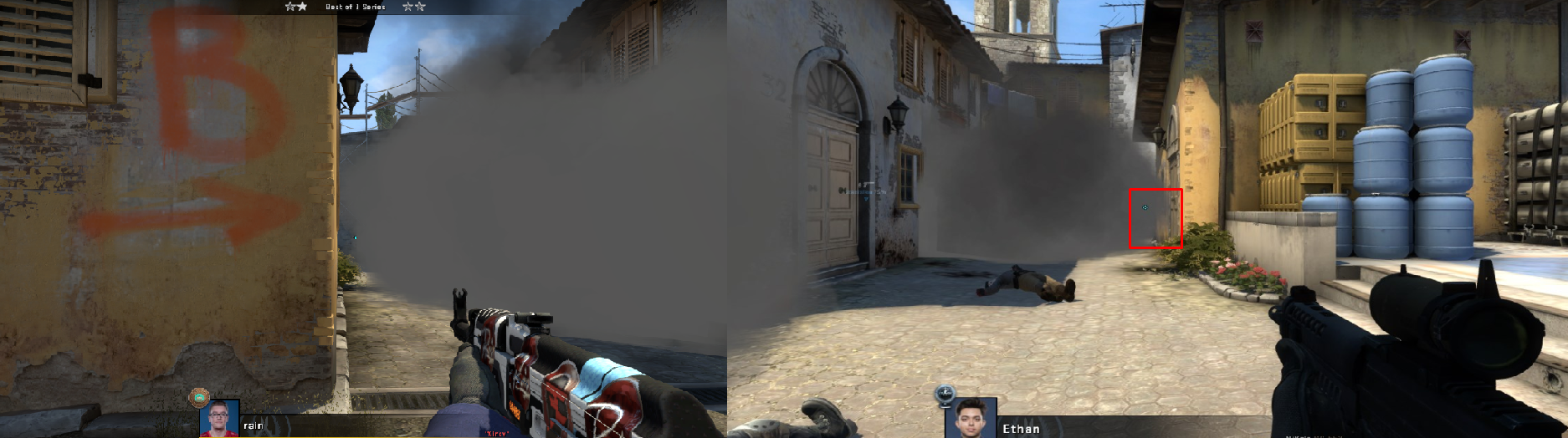 Une image montrant les vues des joueurs sur la carte avec la vue d'Ethans dans le coin droit