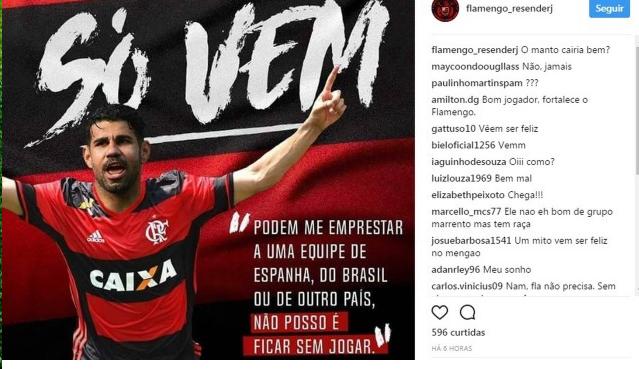 Torcida do Flamengo faz campanha na web pela contrata��o de Diego Costa